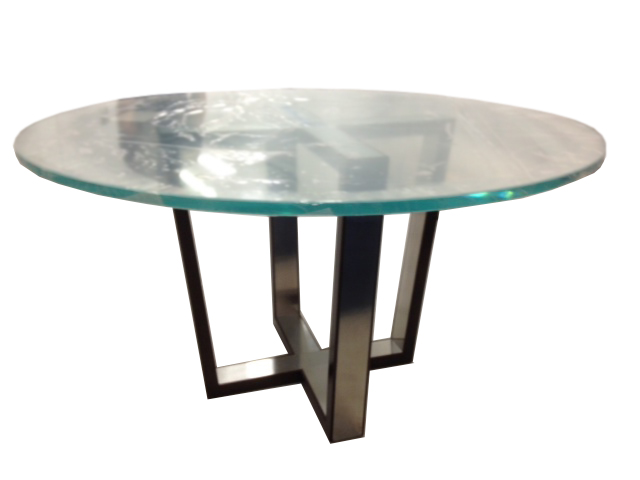 Walnut and Stainless Steel Table Base #2054 (Glass)