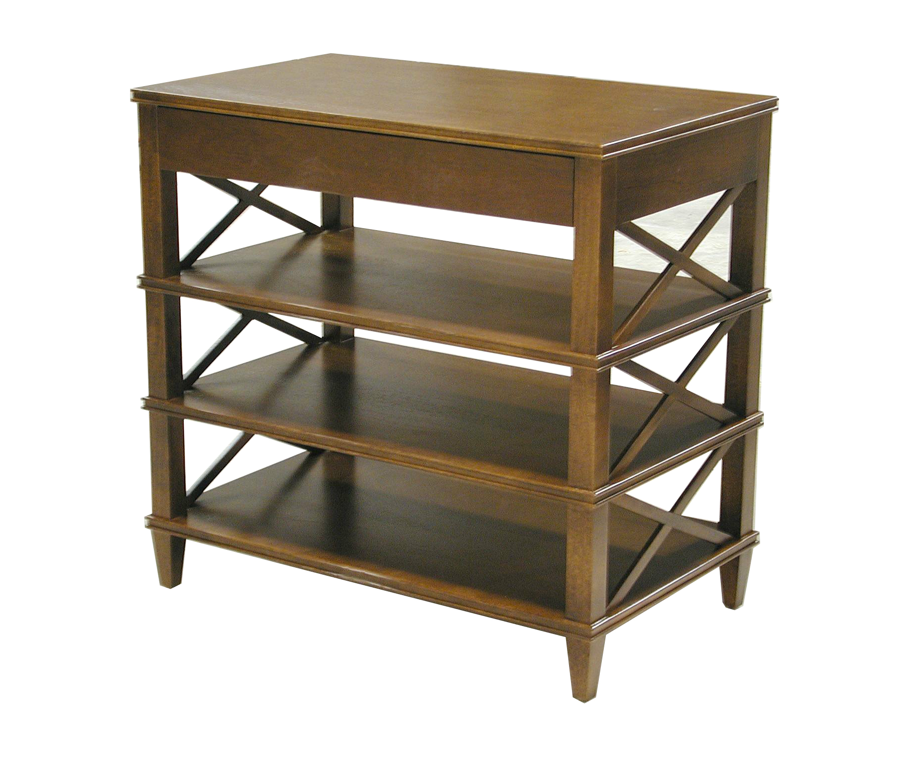 Tiered X side table with drawer #1065
