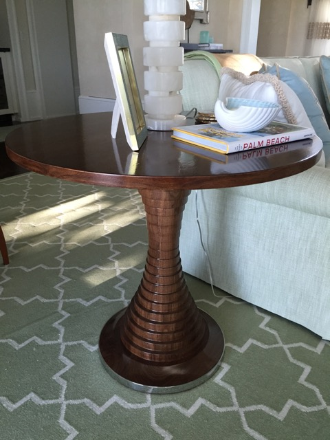 Walnut Stepped Pedestal Table with nickel trim at base