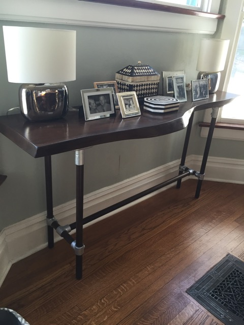 Live Edge Walnut Slab Console Table with Industrial fittings