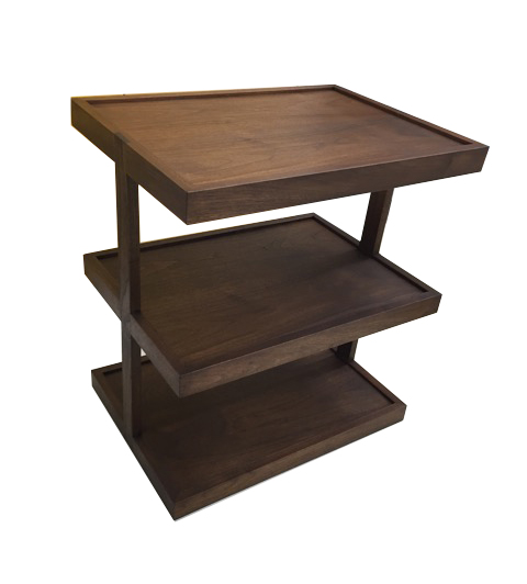 Walnut Three Tiered Side Table with lip on edge #3001