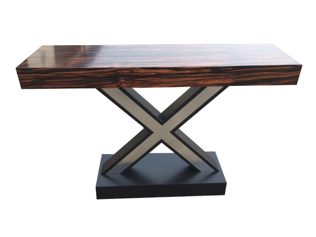 X Base Console with Macassar Ebony Top and Stainless and Black base