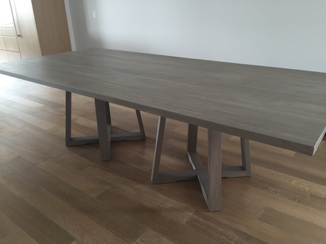 Bleached Walnut Double Pedestal Extension Dining Table