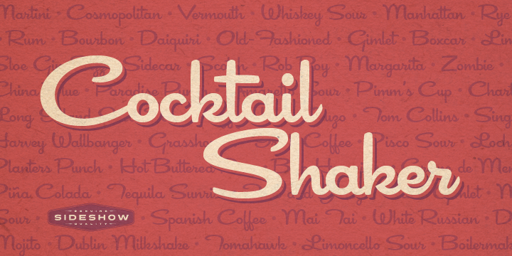 Cocktail Shaker font poster