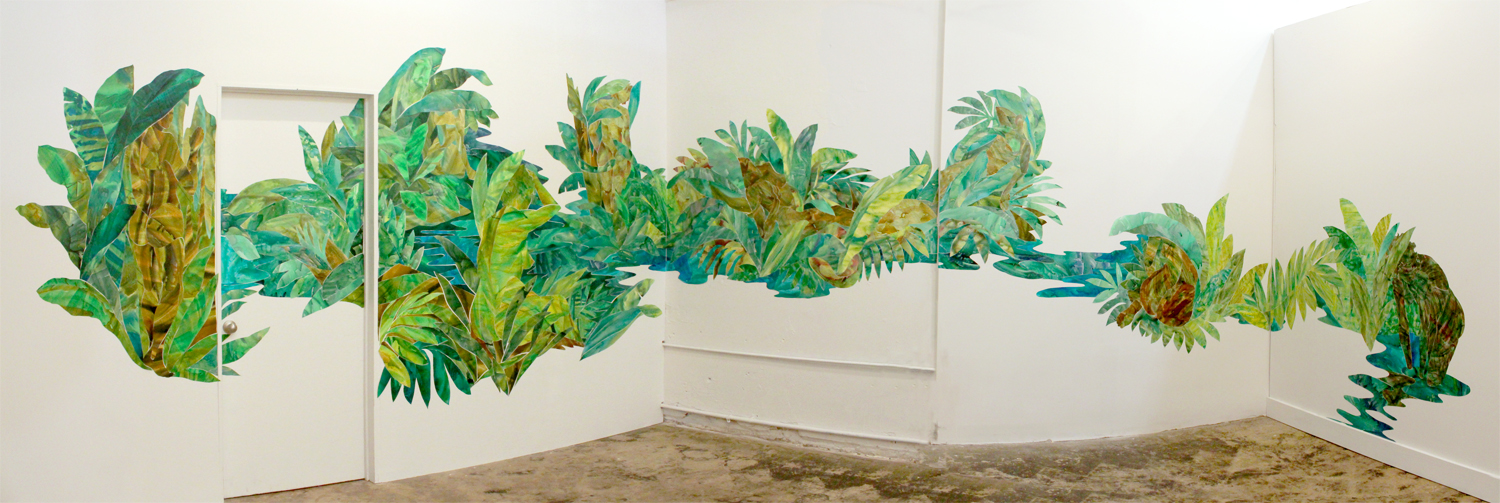 """Botanica Magica , 2017, ink on yupo, approx. 8 ft x 34 ft -- installation at Pelican Bomb Gallery X, New Orleans, LA as a part of the exhibition """"Queer Tropics,"""" a satellite exhibition of Prospect 4"""