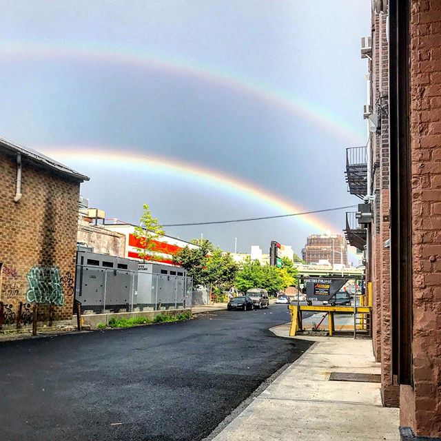 Post-studio positivity #double rainbow #🌈🌈 #summerrain #gowanus #brooklyn