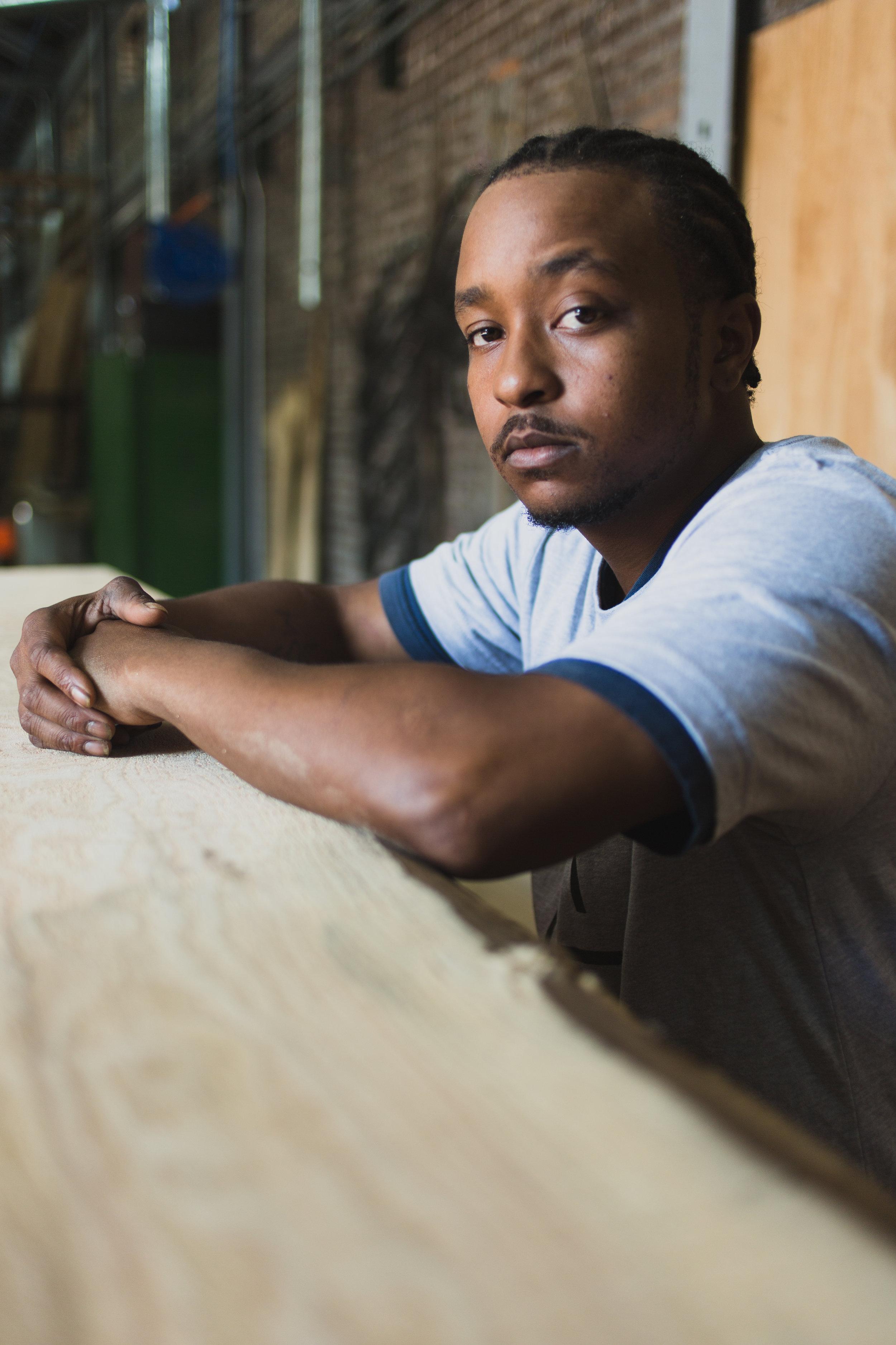 Portrait of Khris Williams, Workforce Staff, Rebuild Foundation, Photo: David C. Sampson.