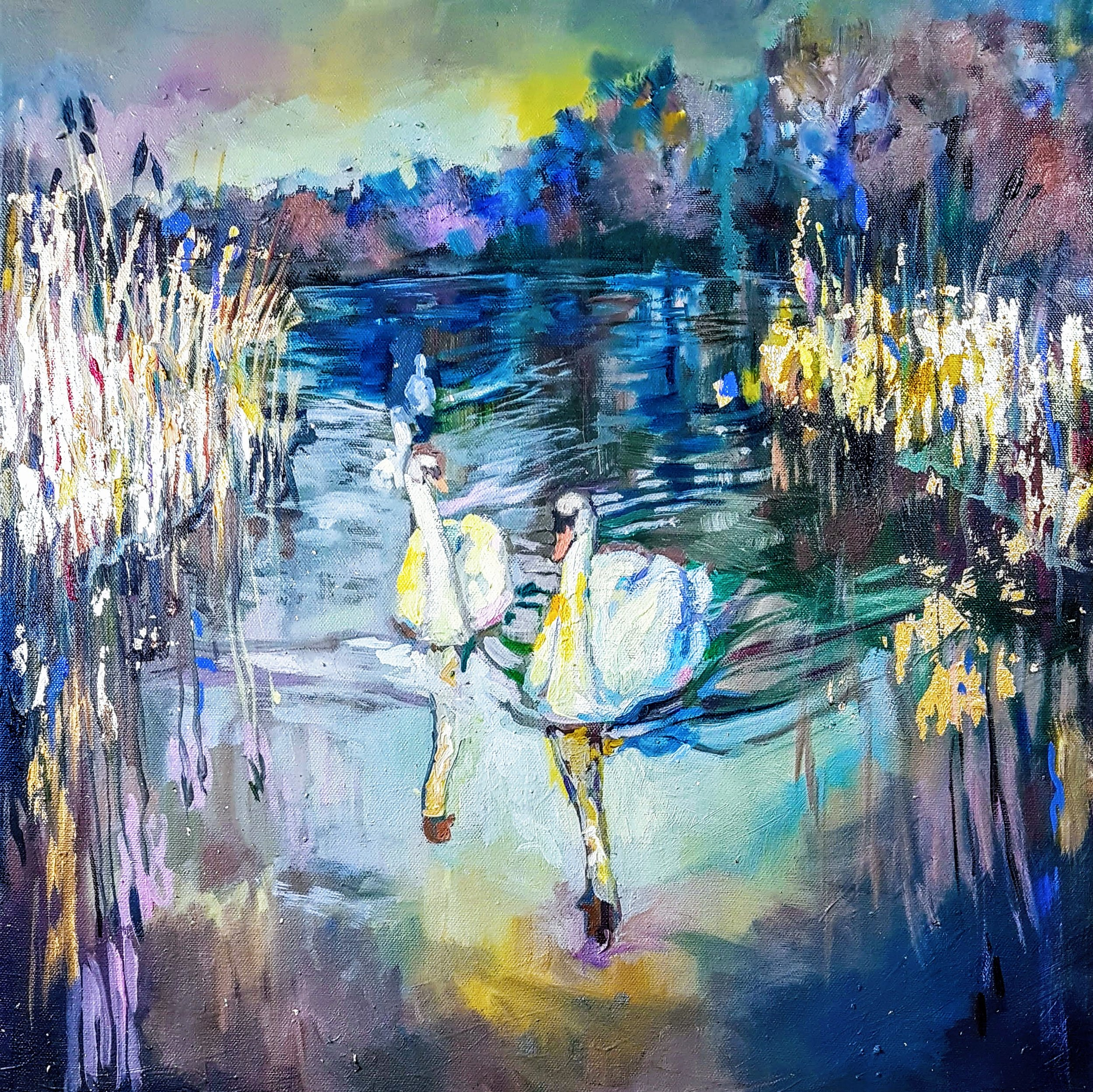 Swans Riverscape Work in Progress Aug 2018. Oils and gold leaf on a stretched canvas 50 x 50 xm