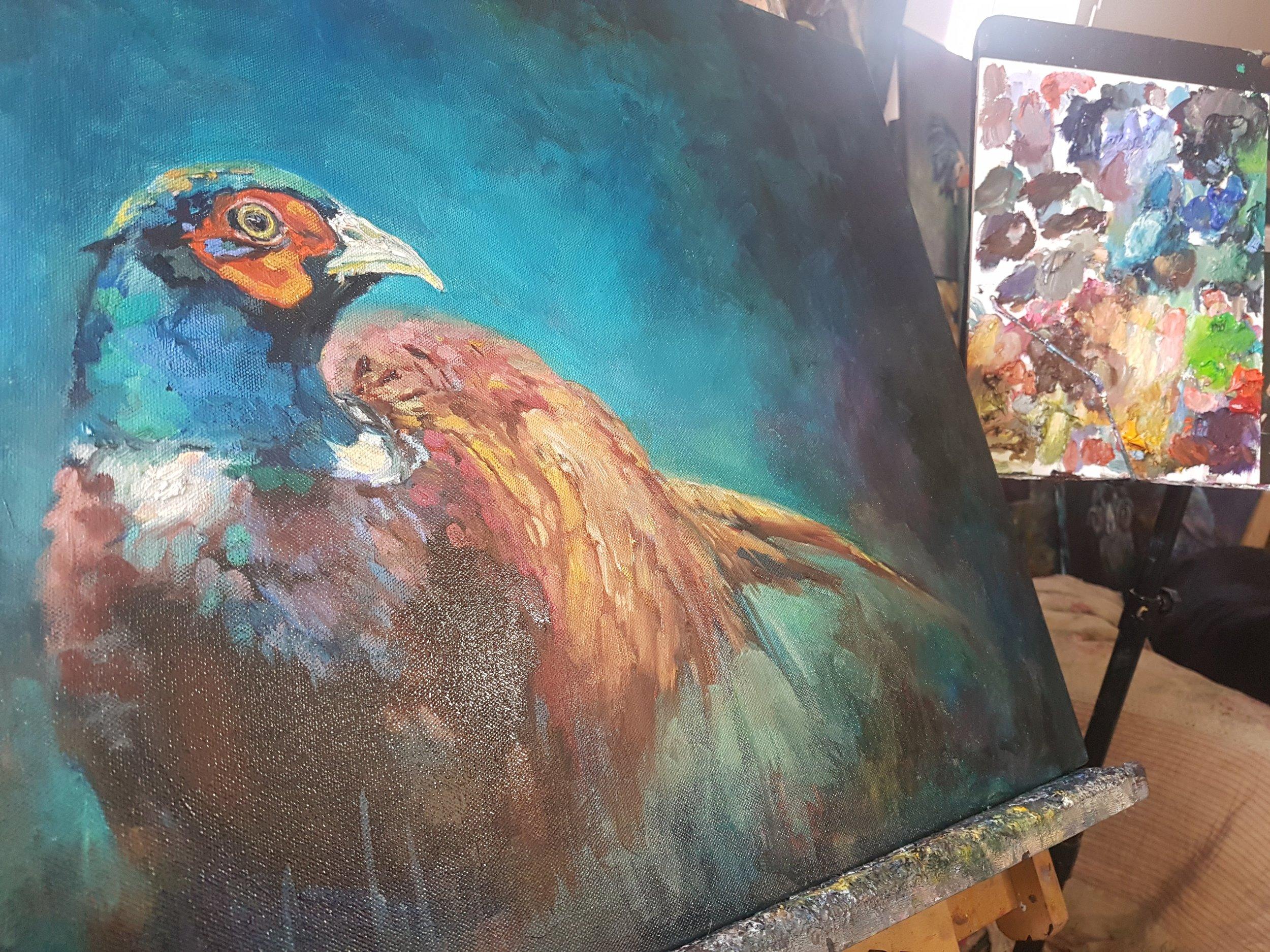 pheasant painting wild bird sue gardner