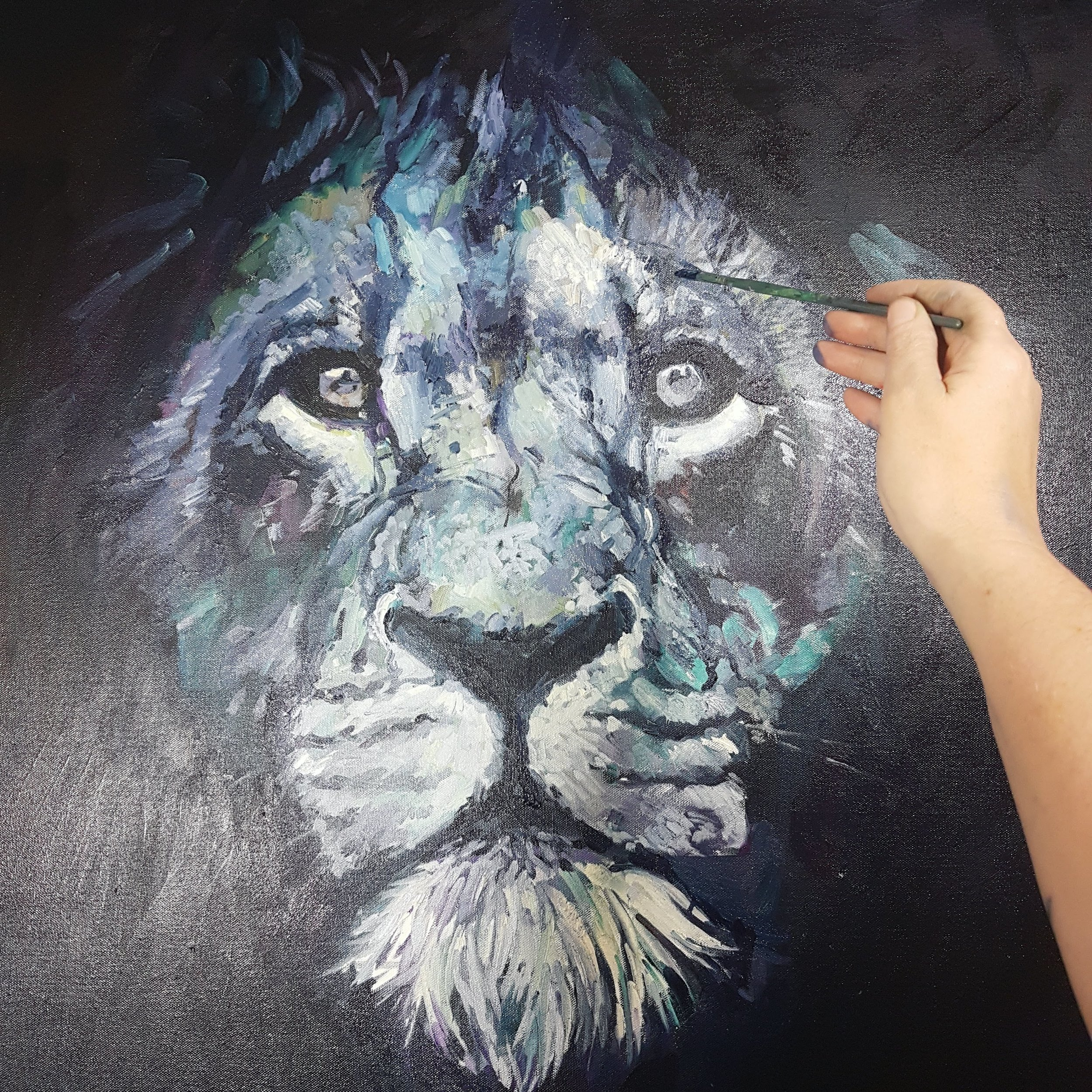 lion painting back and white sue gardner