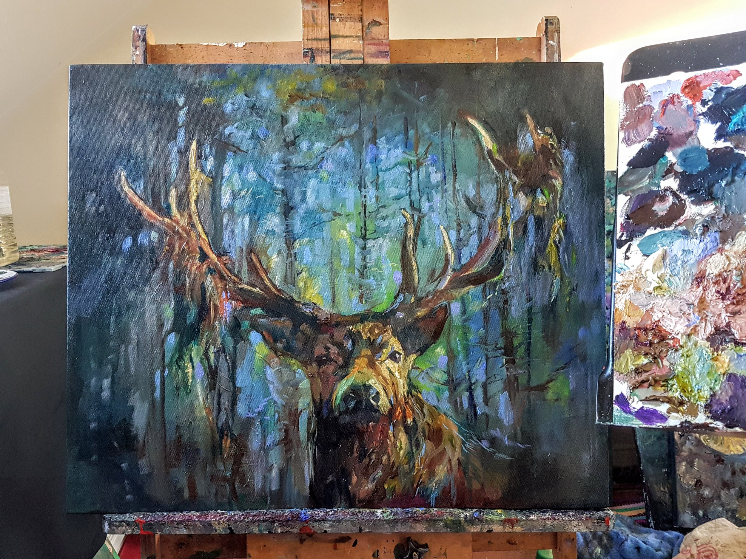 stag painting uk sue gardner canvas in progress