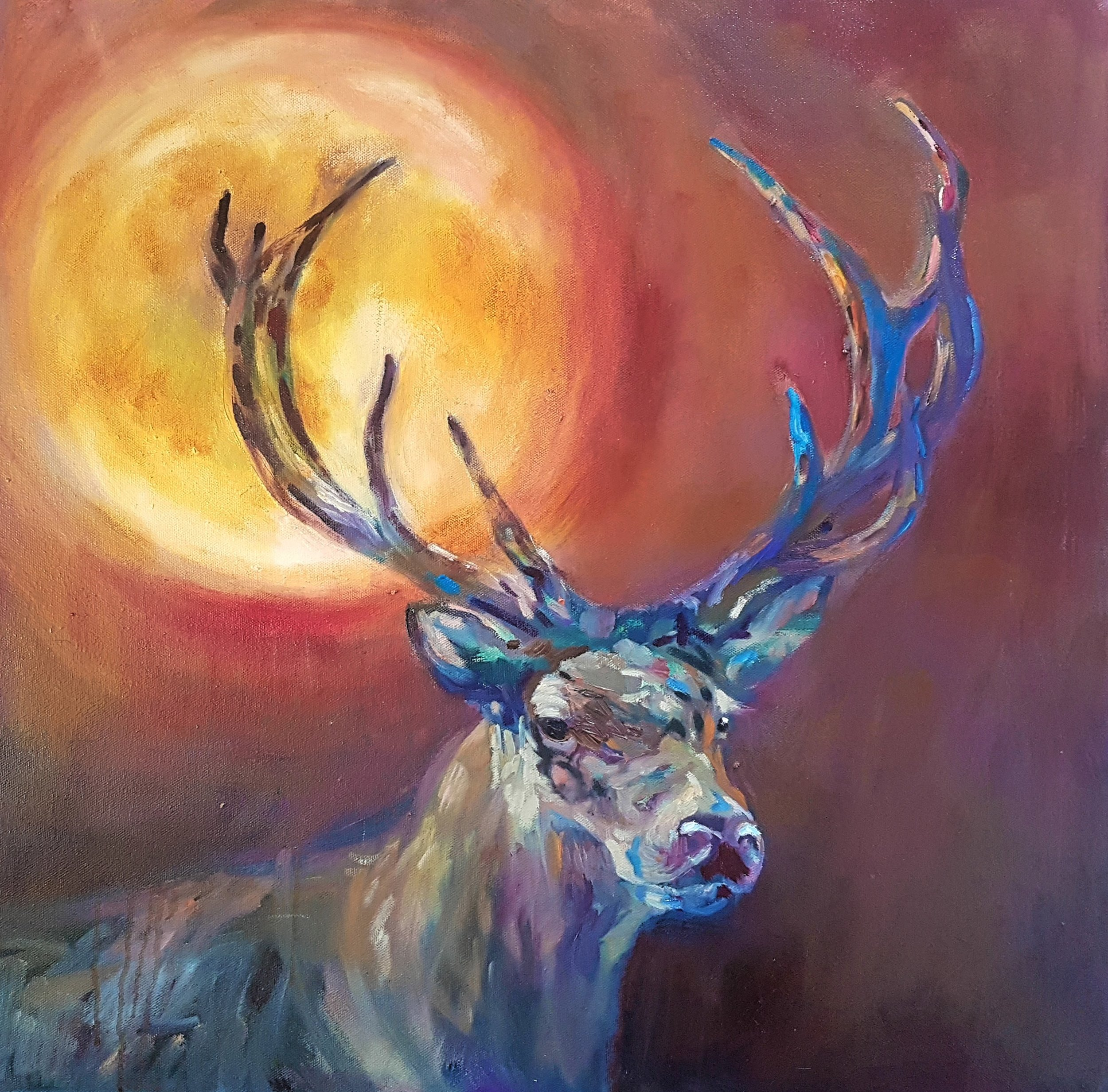 My stag, a work in progress! 60 x 60 cm