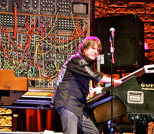 Keith Emerson in front of a Moog synthesizer ( image from WikiPedia )