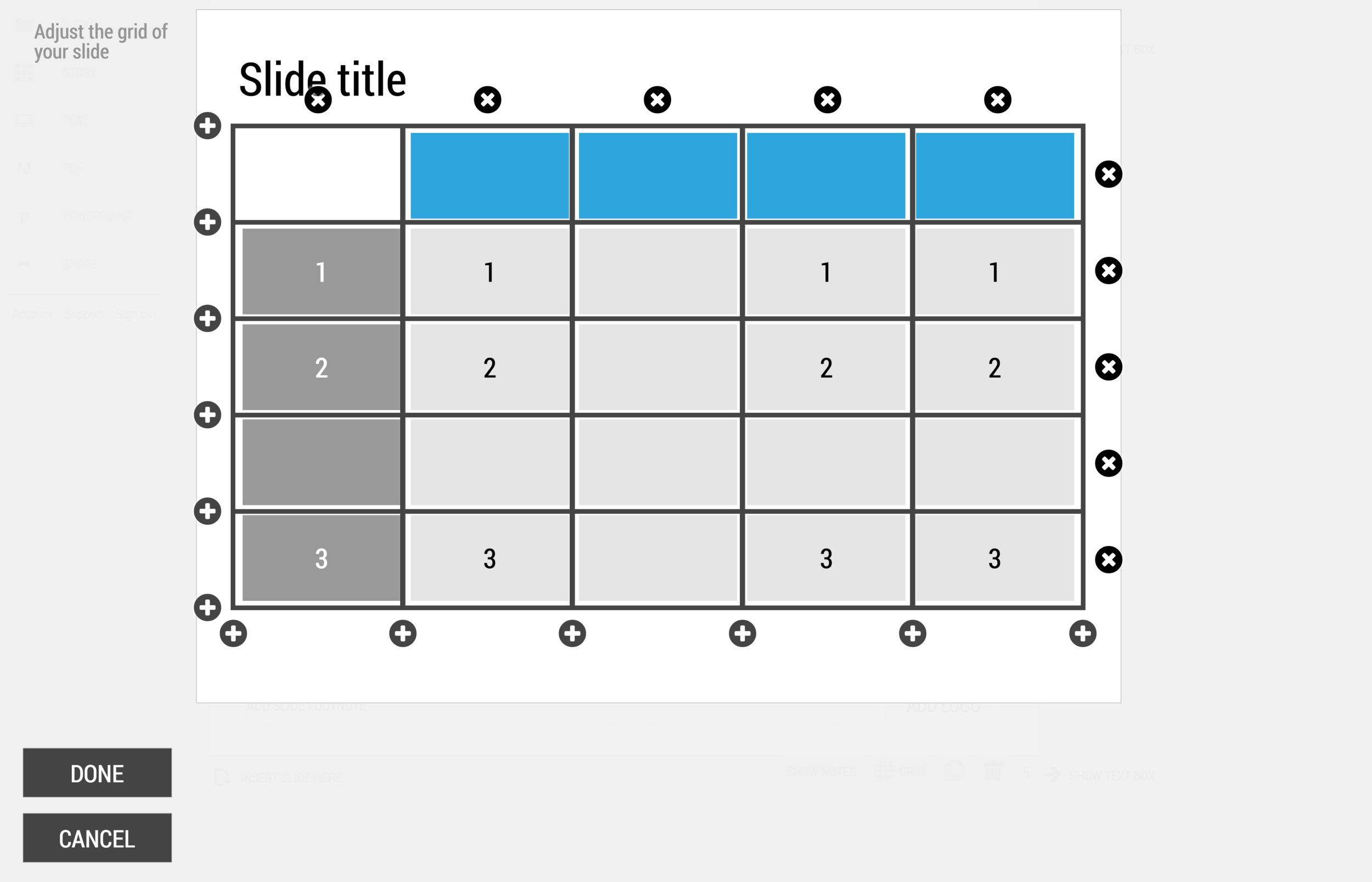 3) Add a row and a column