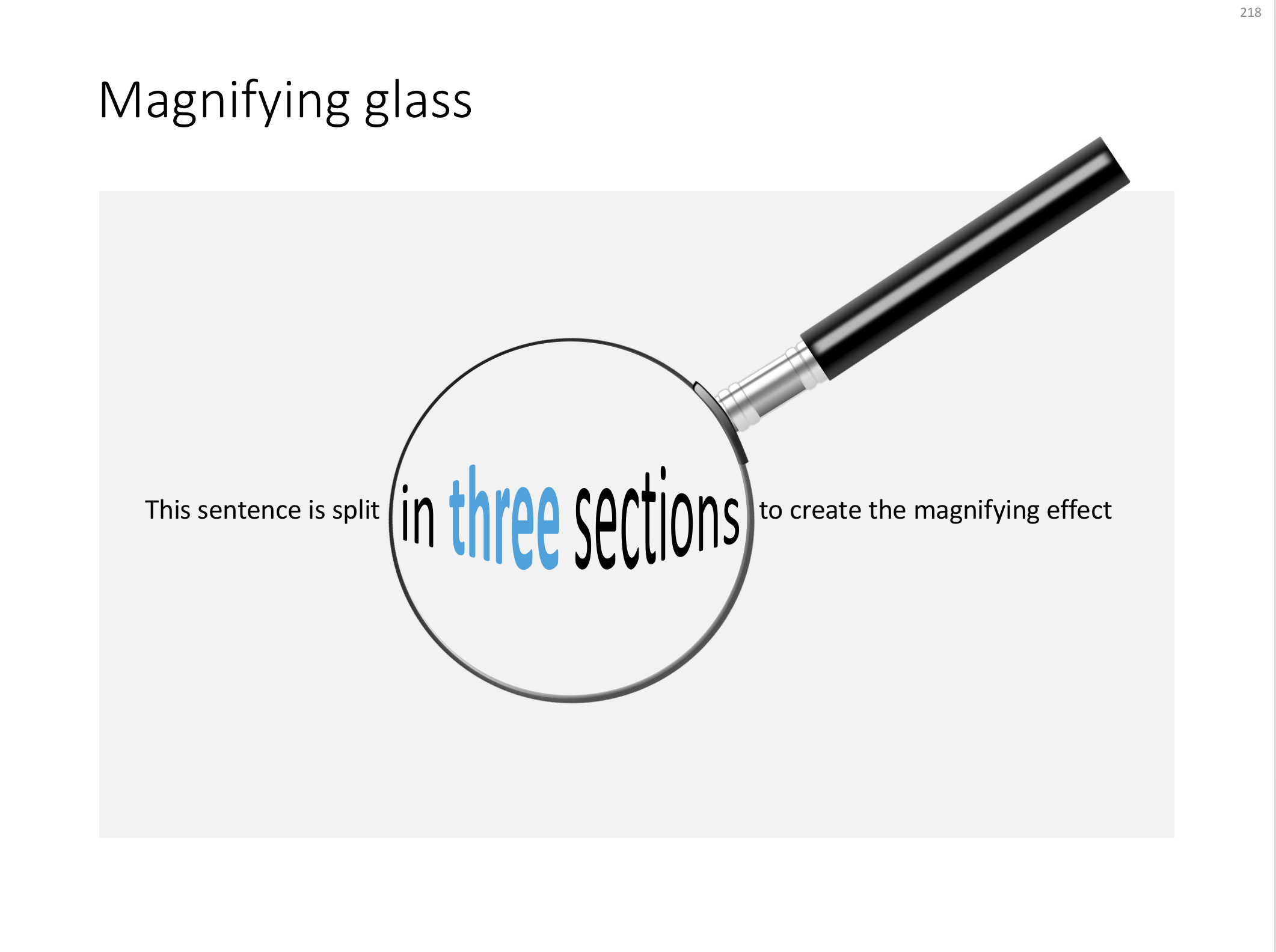 A magnifying glass in PowerPoint