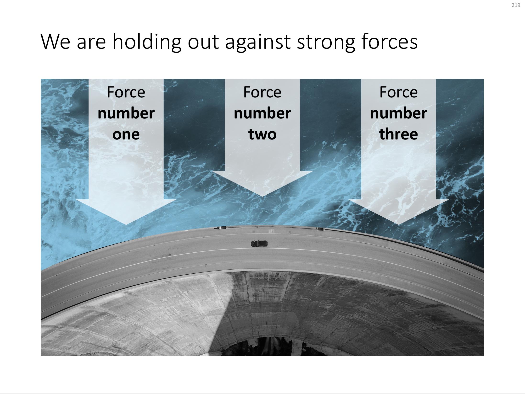 A PowerPoint slide template featuring a dam