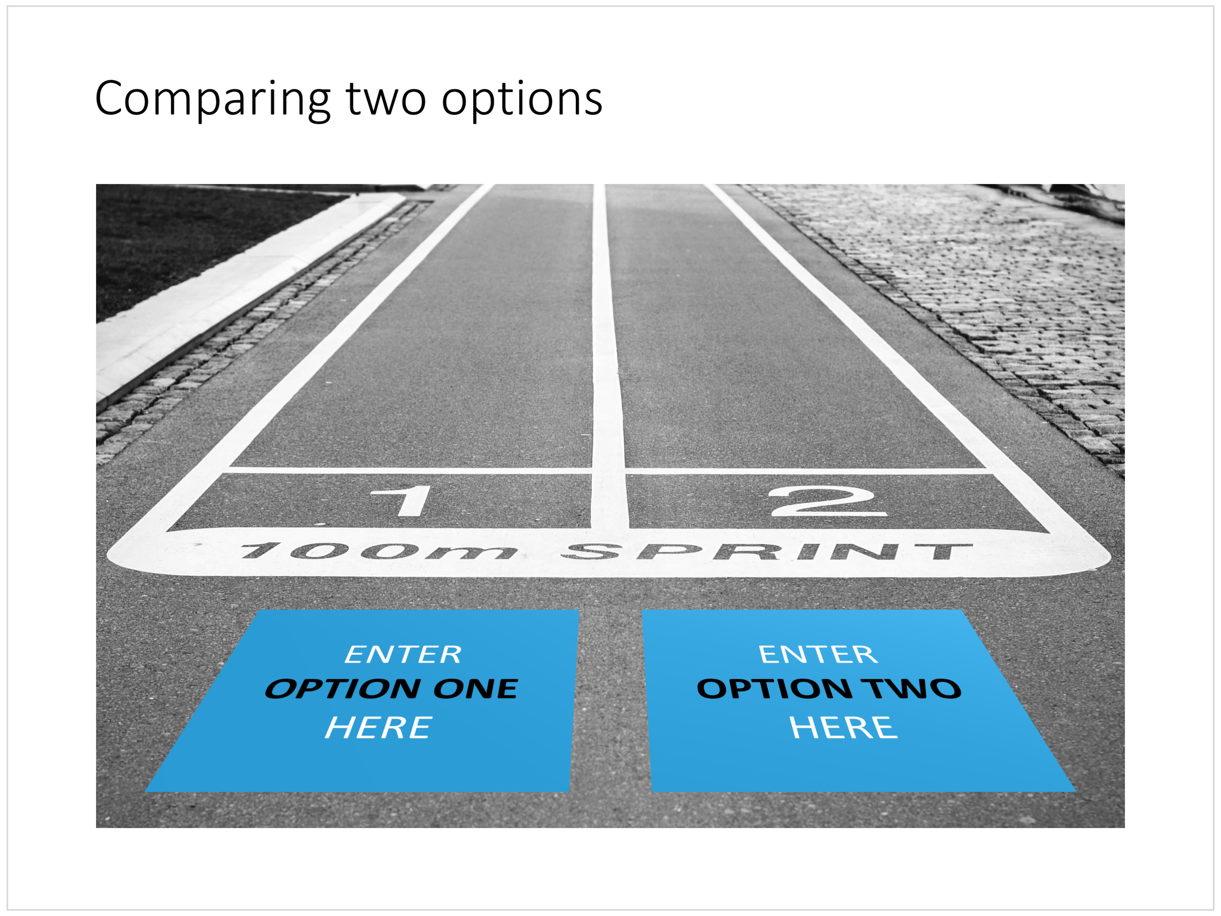 The start line: comparing two optionis