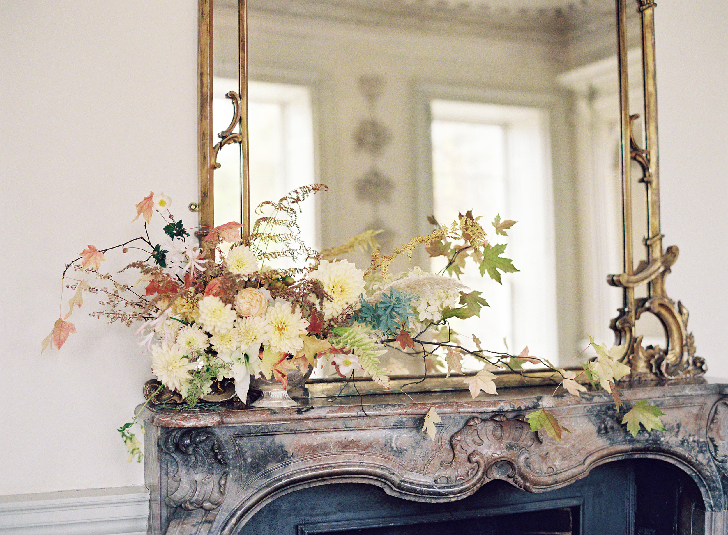 Mantle piece arrangement at Boconnoc House