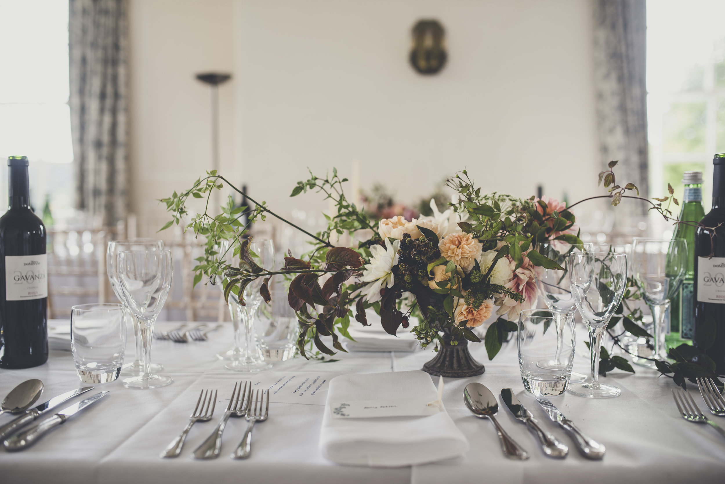 July table styling with low compote at Boconnoc House