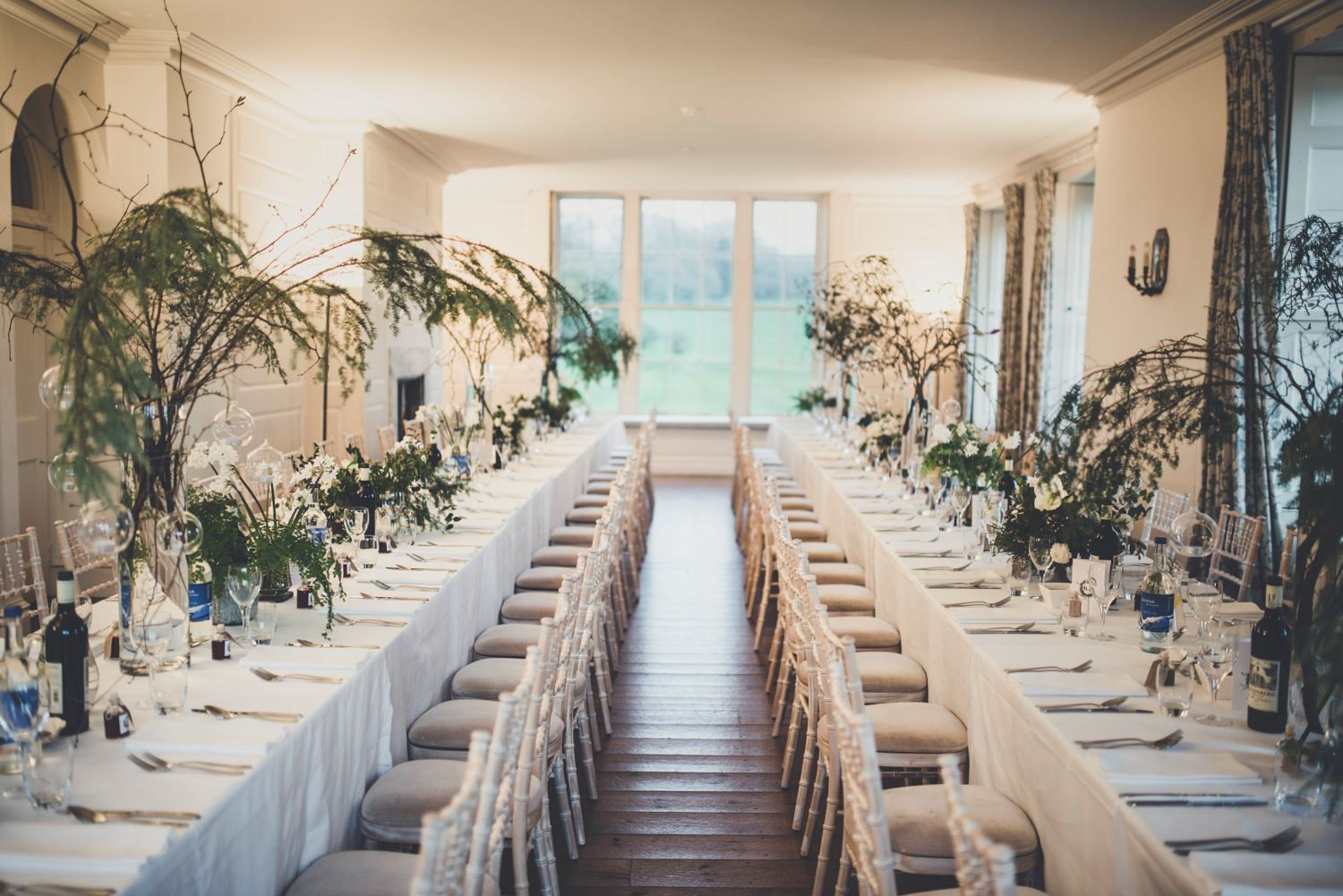Christmas wedding floral styling in the Garden Room at Boconnoc House