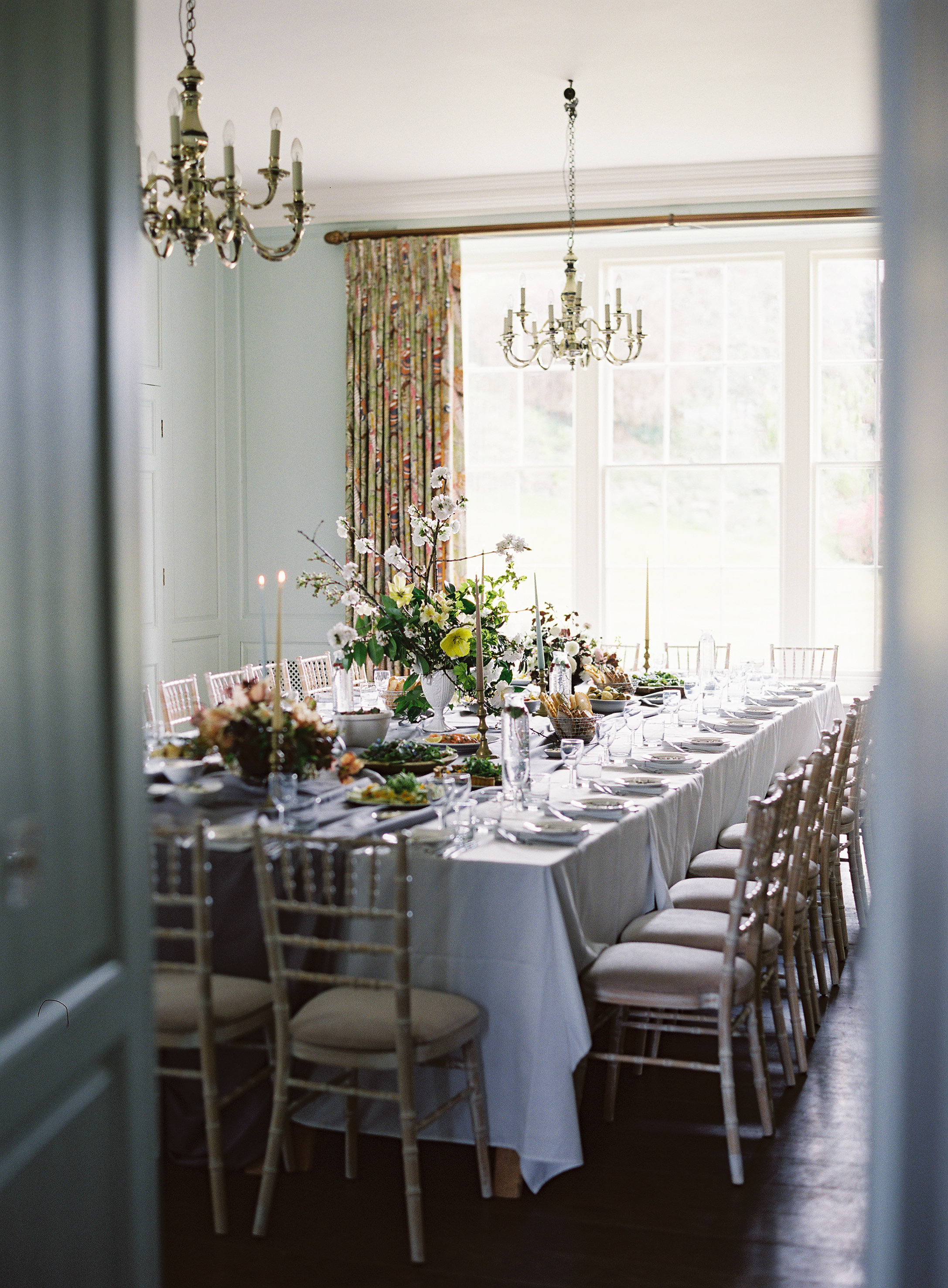 Private dining table styling at Boconnoc House