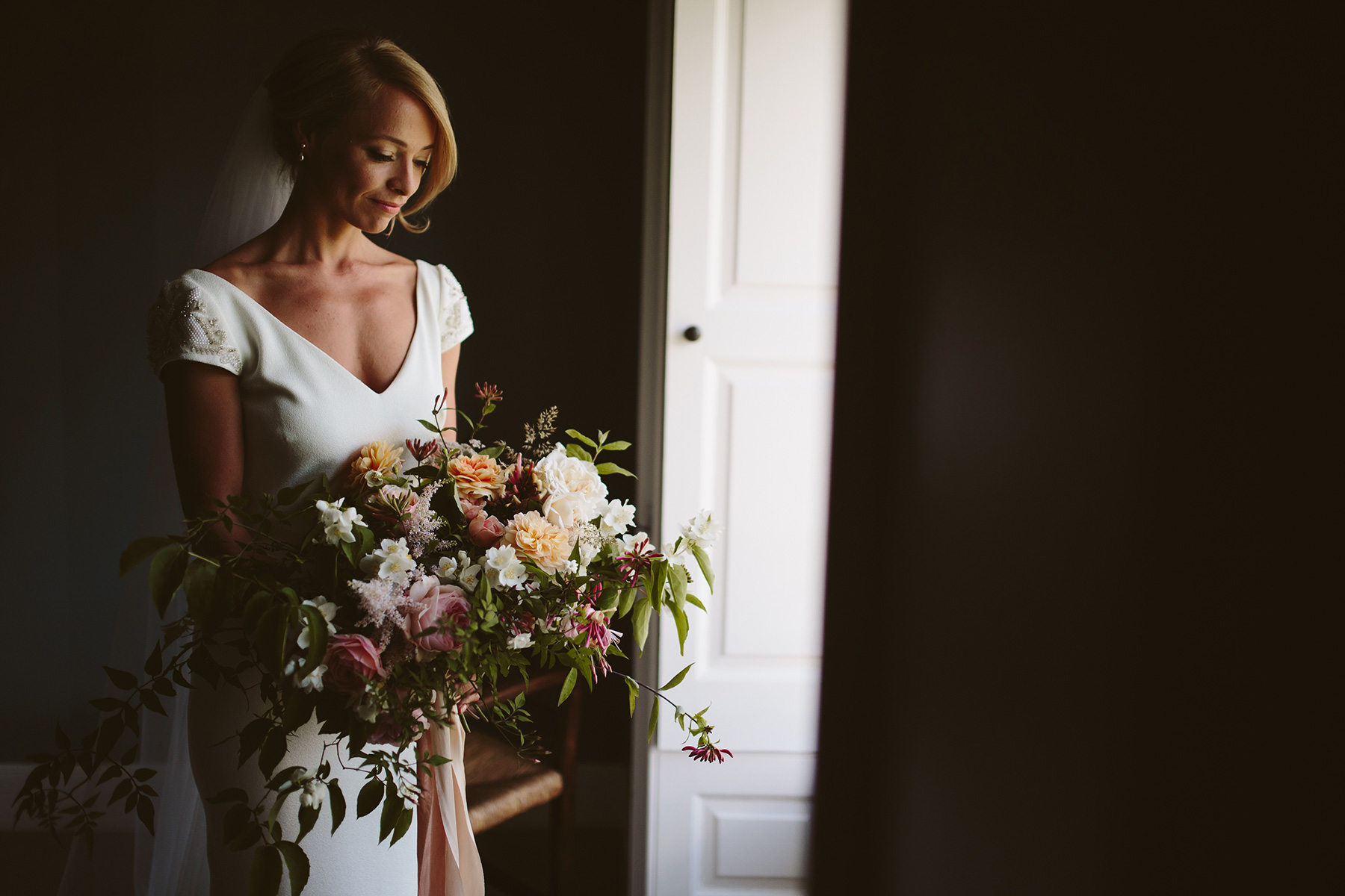Summer bridal bouquet at Boconnoc House