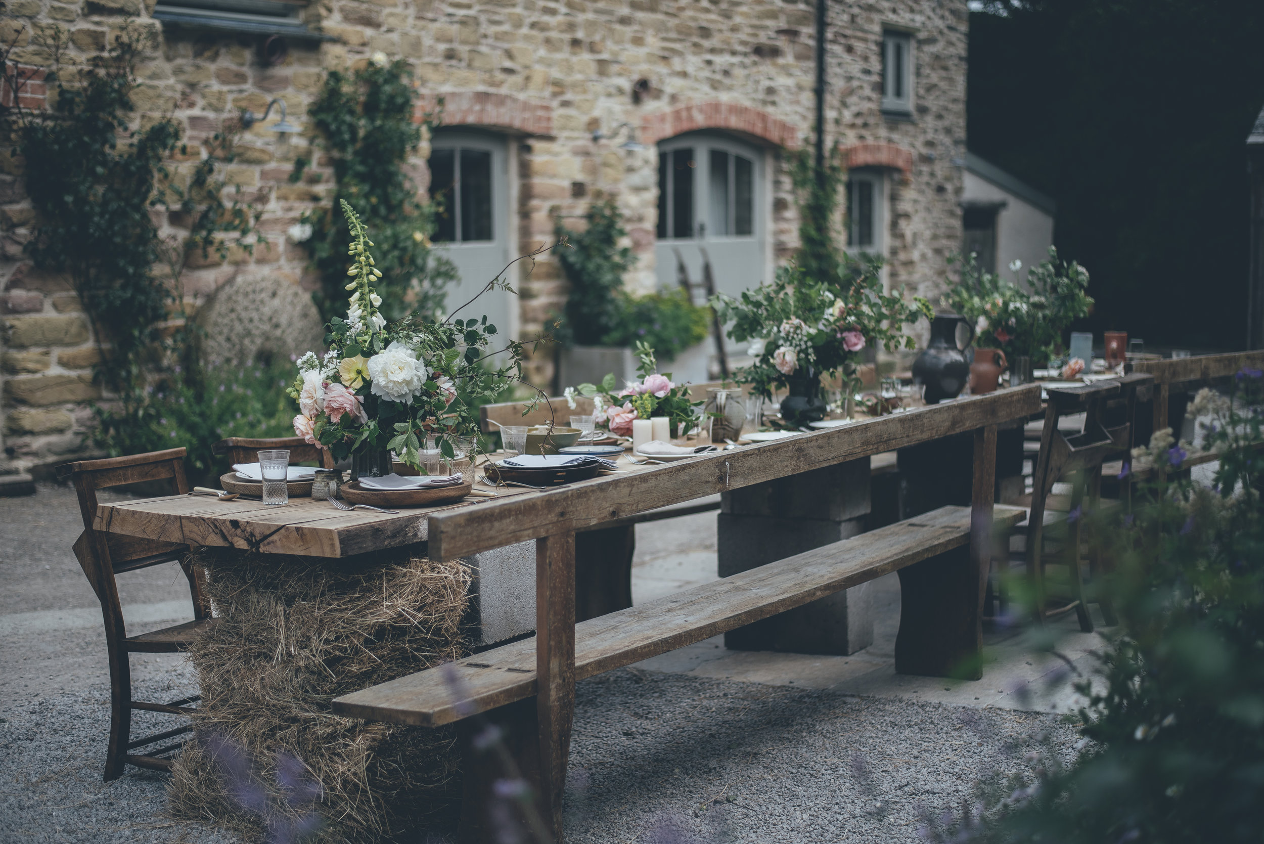 Courtyard table set up at Nancarrow captured by Ross Talling