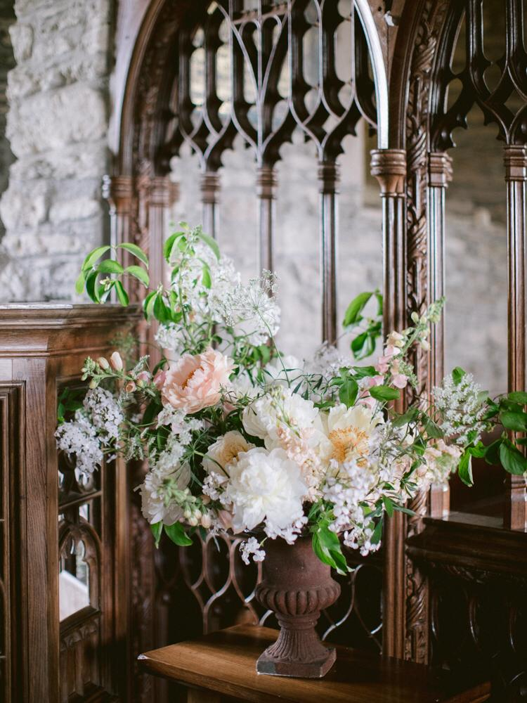 Church flowers for Cornish wedding