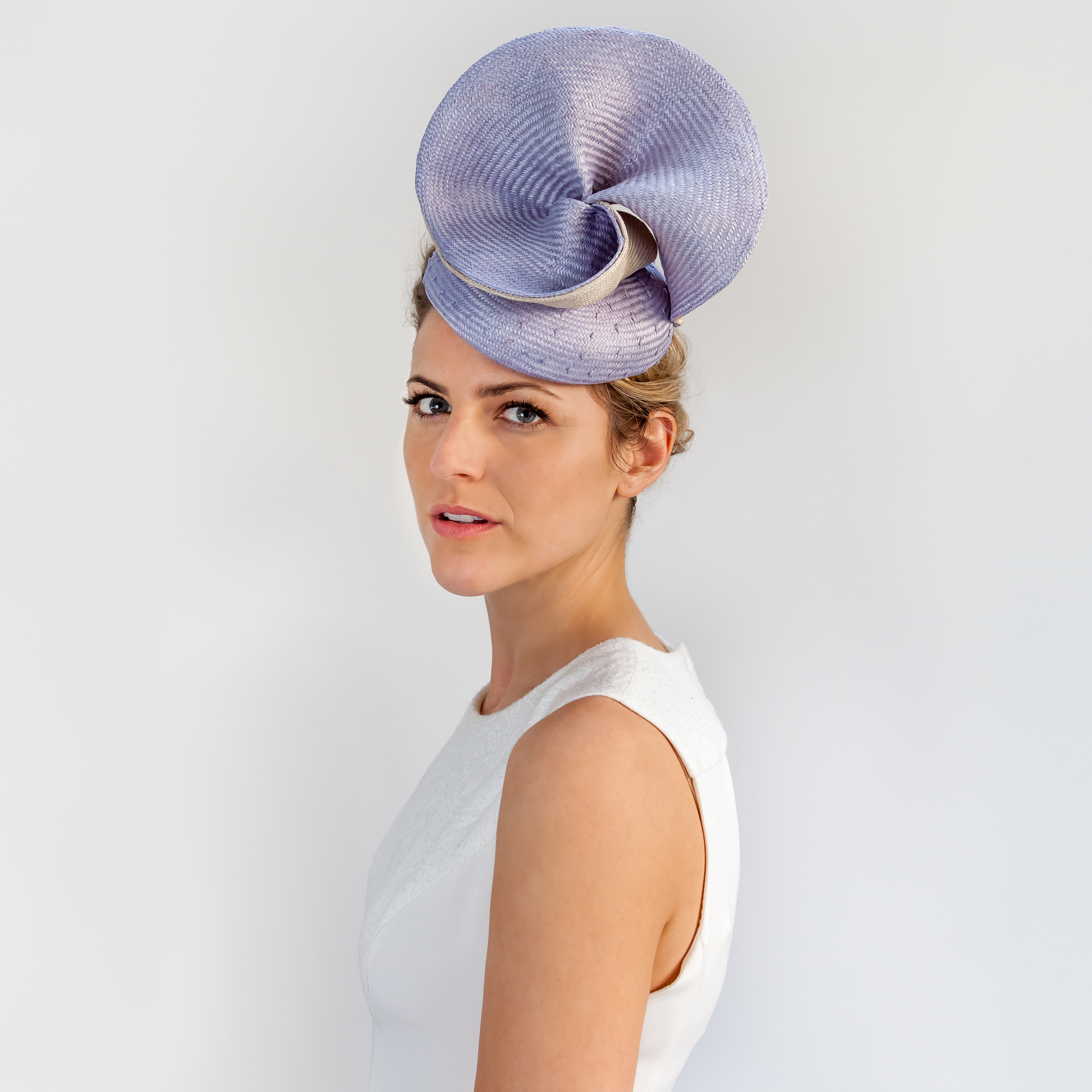 TRANSFORM - £70  Silvery lilac knotted sisal straw button with silvery lilac and cream smooth folds.