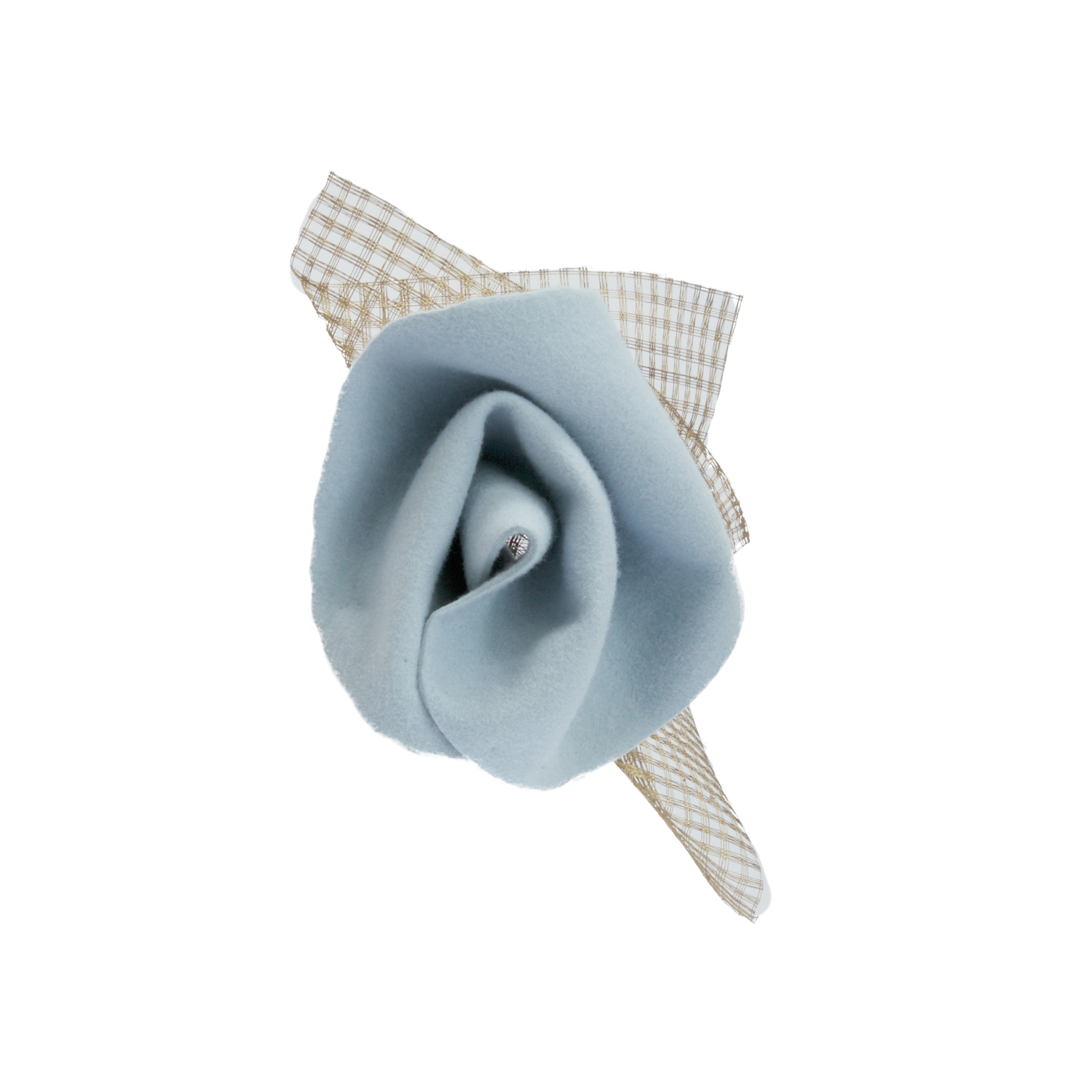 CONCH - £65  Pale blue headpiece with gold mesh, sits on small disk.