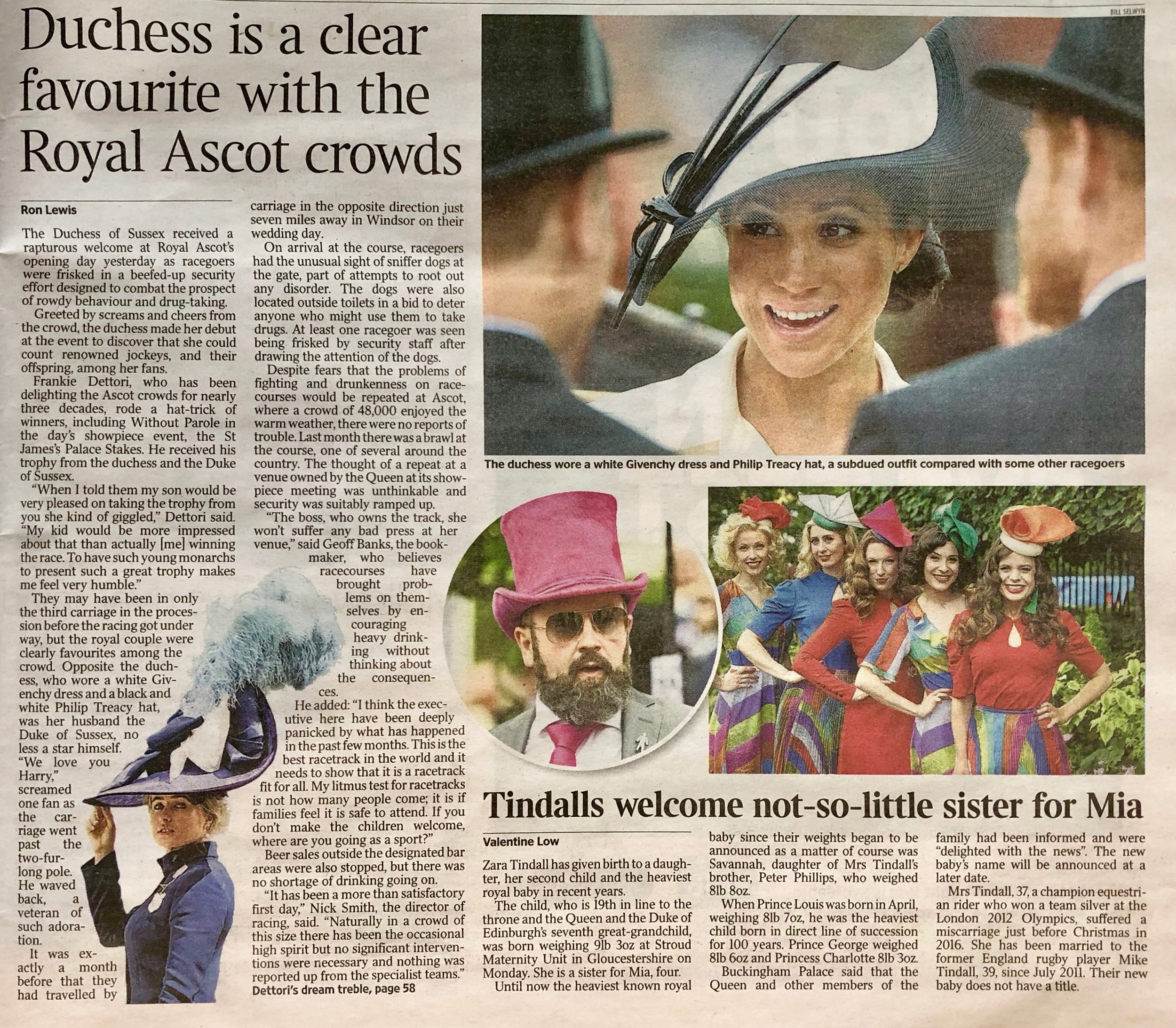 The Times - 20th June 2018  (The Tootsies wearing, left to right: Cacti headpiece, Arris Headpiece, Spinnaker Headpiece, Volute Headpiece Green and Distort Headpiece)