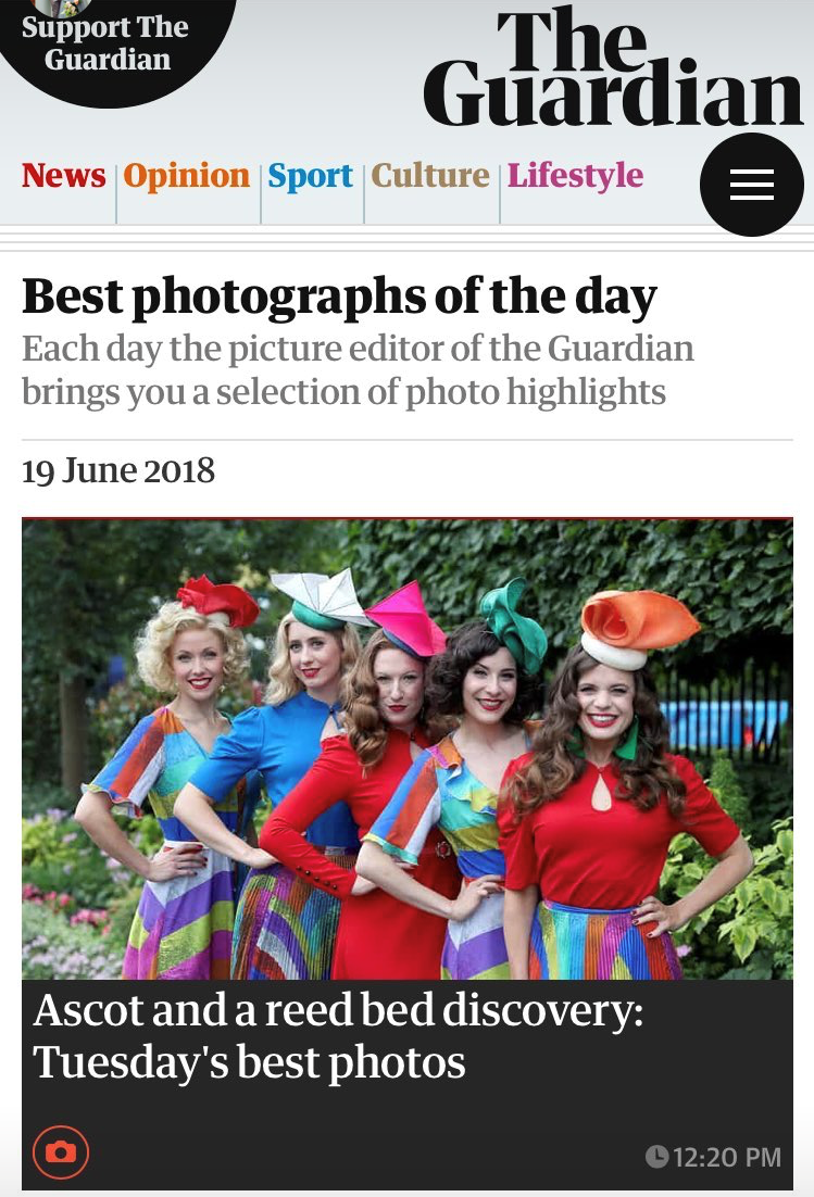 The Guardian.co.uk - 19th June 2018  (The Tootsies wearing, left to right: Cacti headpiece, Arris Headpiece, Spinnaker Headpiece, Volute Headpiece Green and Distort Headpiece)