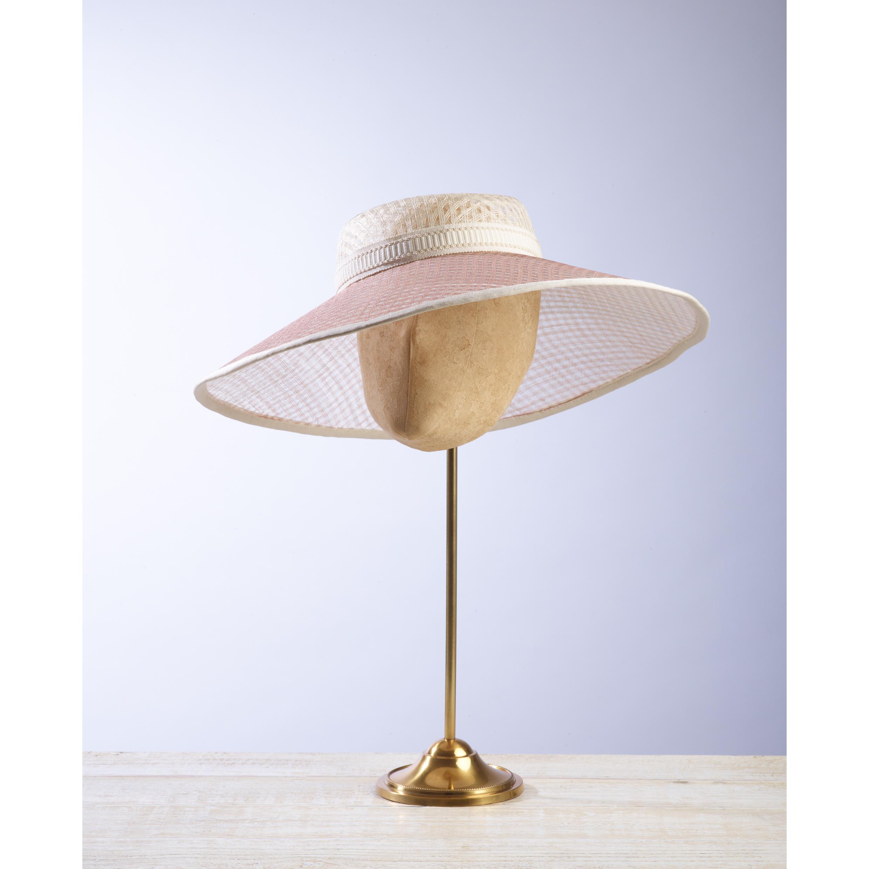 LATTICE - £100  Cream and pale pink pierced straw wide brimmed hat with cream braid.
