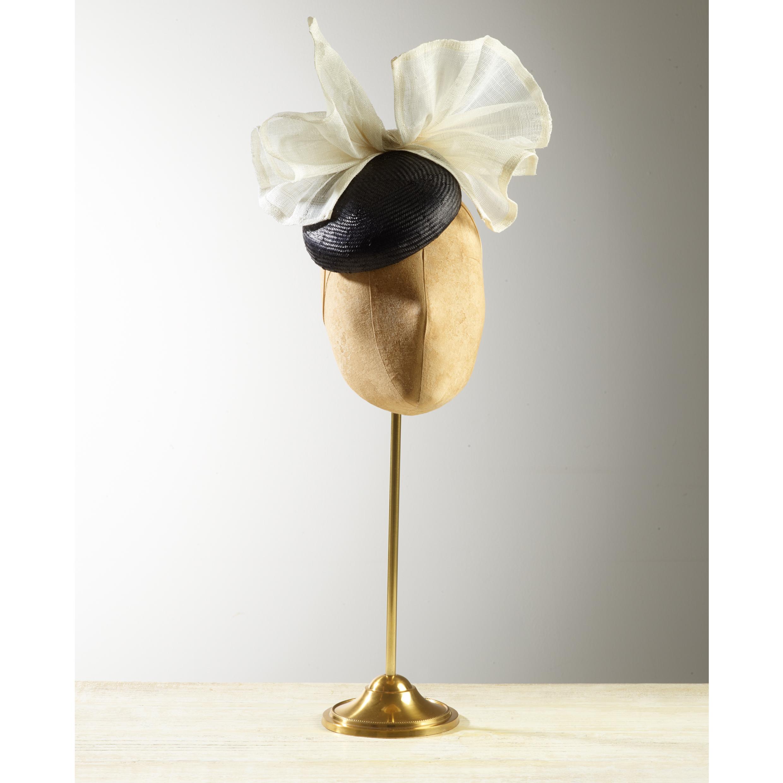 CYCAD (Black/Ivory) - £75  Black sisal straw button headpiece with cream pinokpok bow.