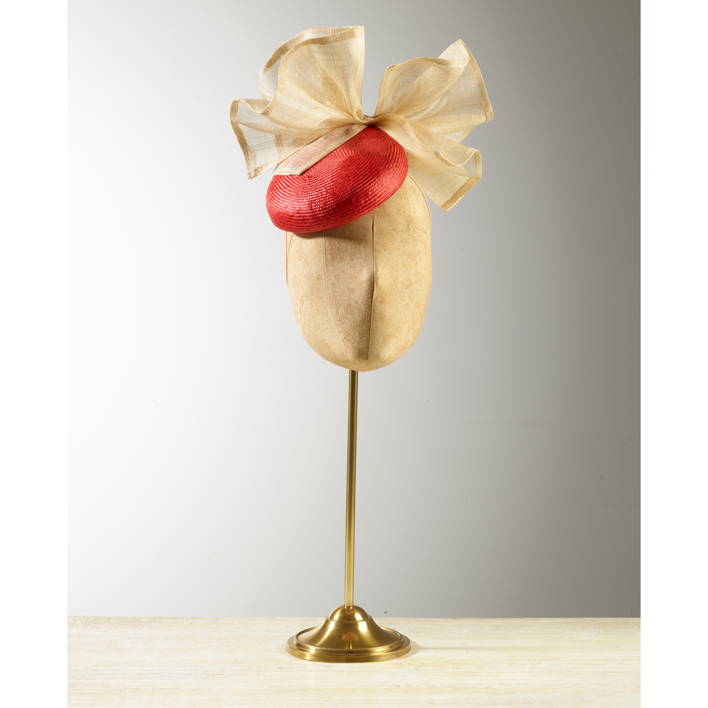 CYCAD (Red/Natural) - £75  Red sisal straw button headpiece with natural pinokpok bow.