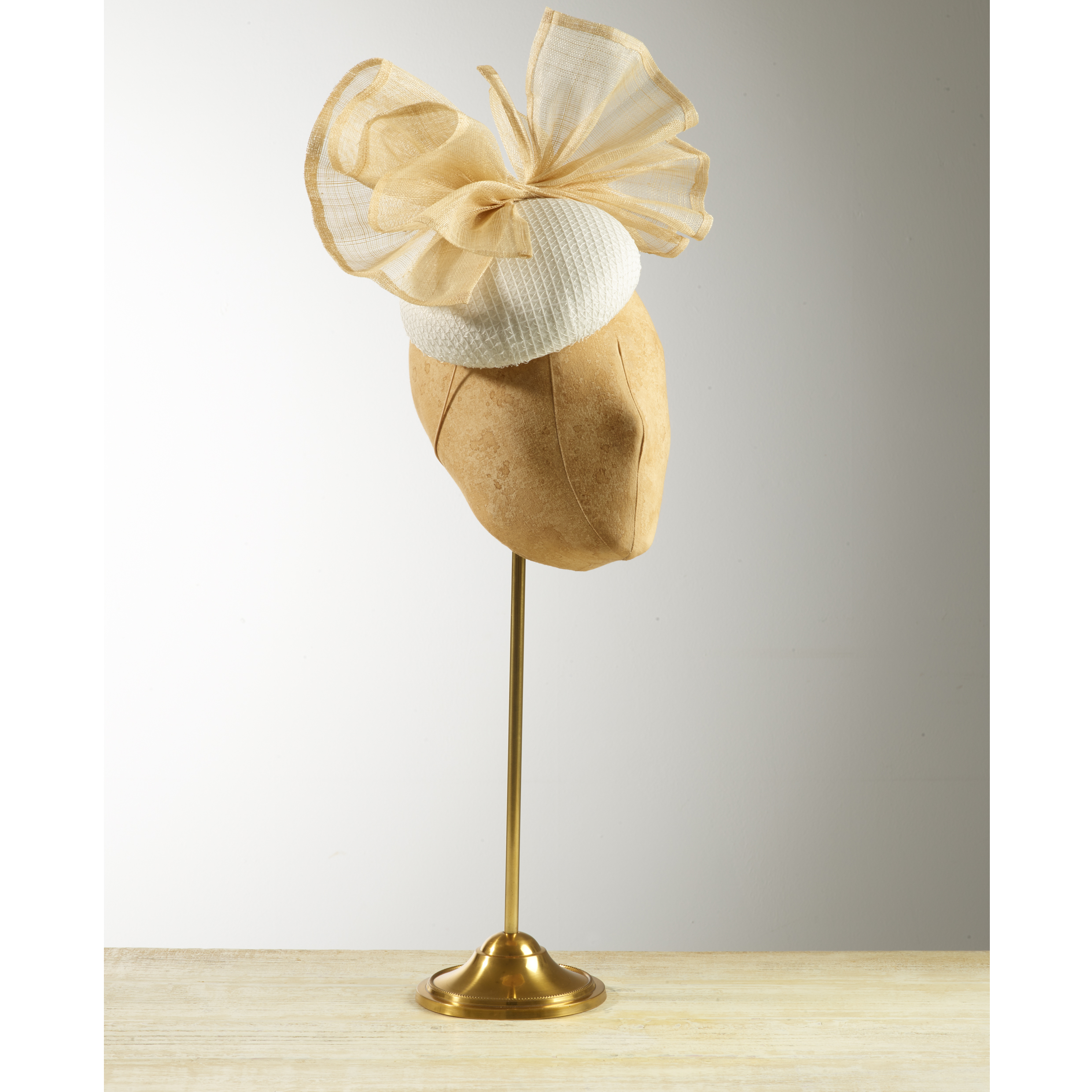 CYCAD (White/Natural) - £75  White and silver mesh fabric button headpiece with natural pinokpok bow.