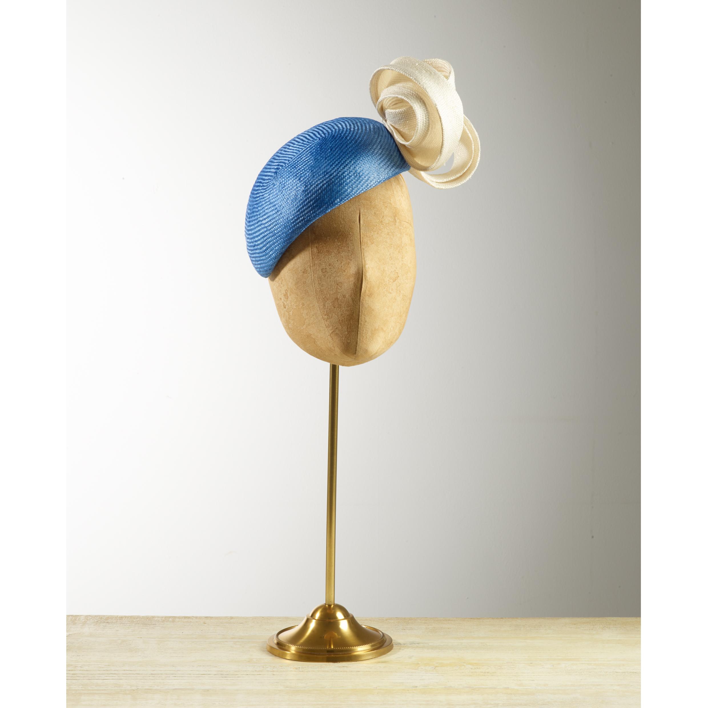 SUNDEW - £75  Cornflower blue sisal straw beret with cream loops.