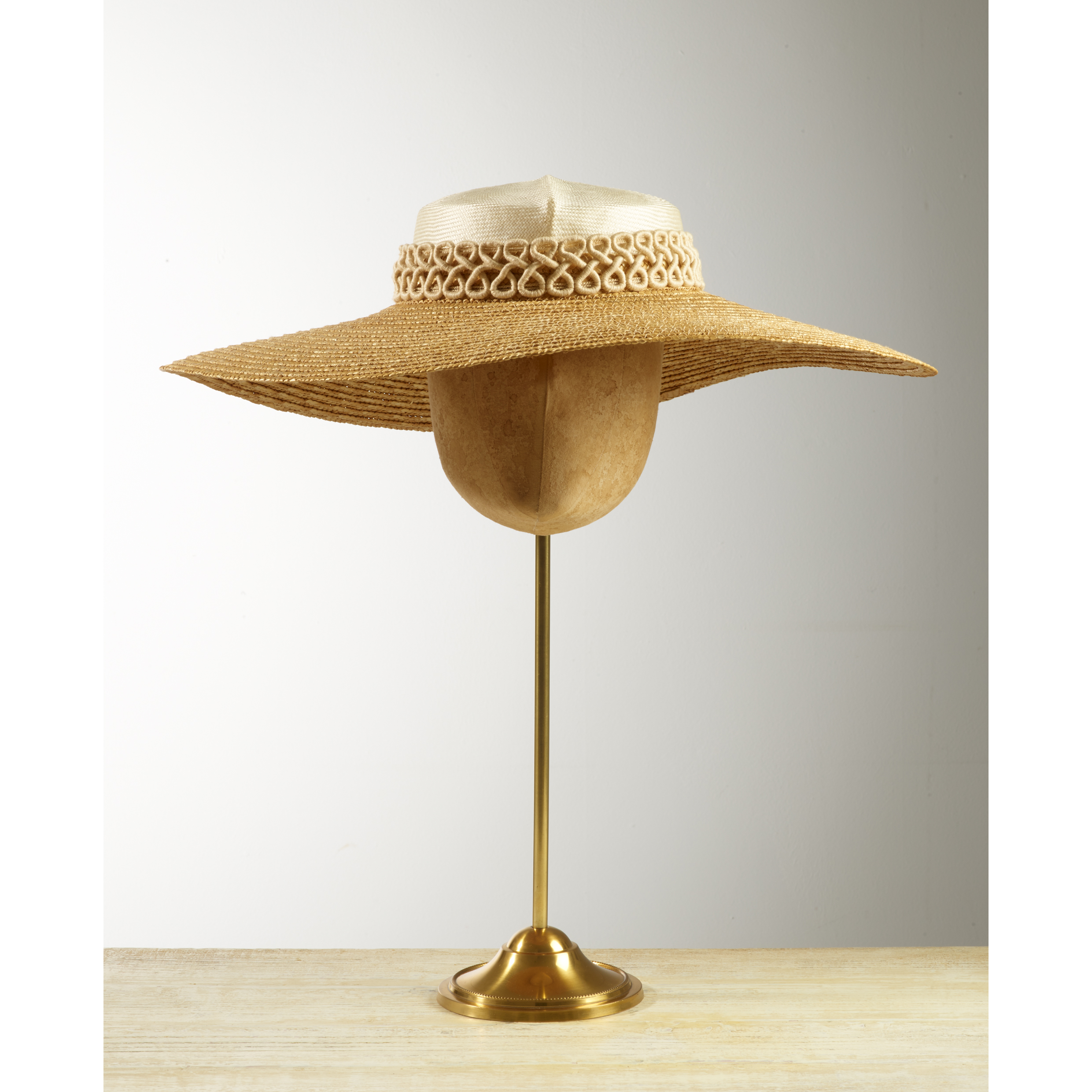 MINKA - £95  Cream and natural two-tone wide brimmed hat with cream filigree braid.