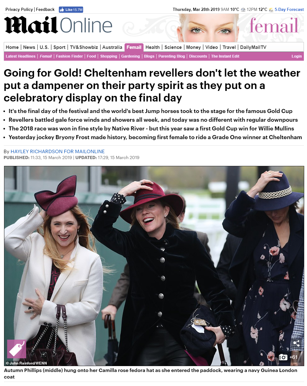Daily Mail - Autumn Phillips & Di Dougherty - 15th march 2019  (Dusk Fedora Burgundy & Delphinius Fedora)