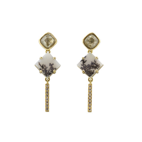 Square Agate Diamond Drop Earrings — Sorrel Bay - Ethical Hand Made Fine  Jewellery