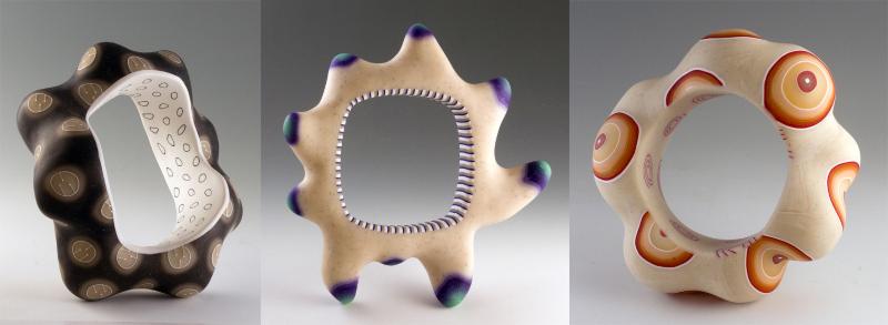 hollow, organic, polymer bangles by Melanie West