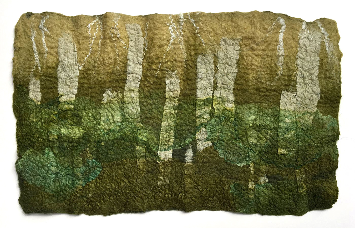 Birch Grove by Melanie West, 2018 wool and hand painted silk