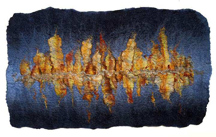 Reflection Study 2 by Melanie West wool and hand painted silk