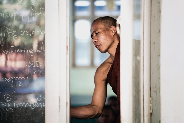 A monk teaches a class at a Bagan monastery.