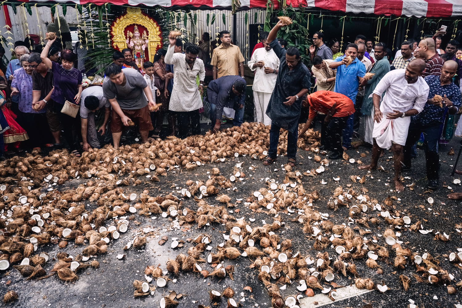 Coconuts are smashed to repent for sins during Thaipusam.