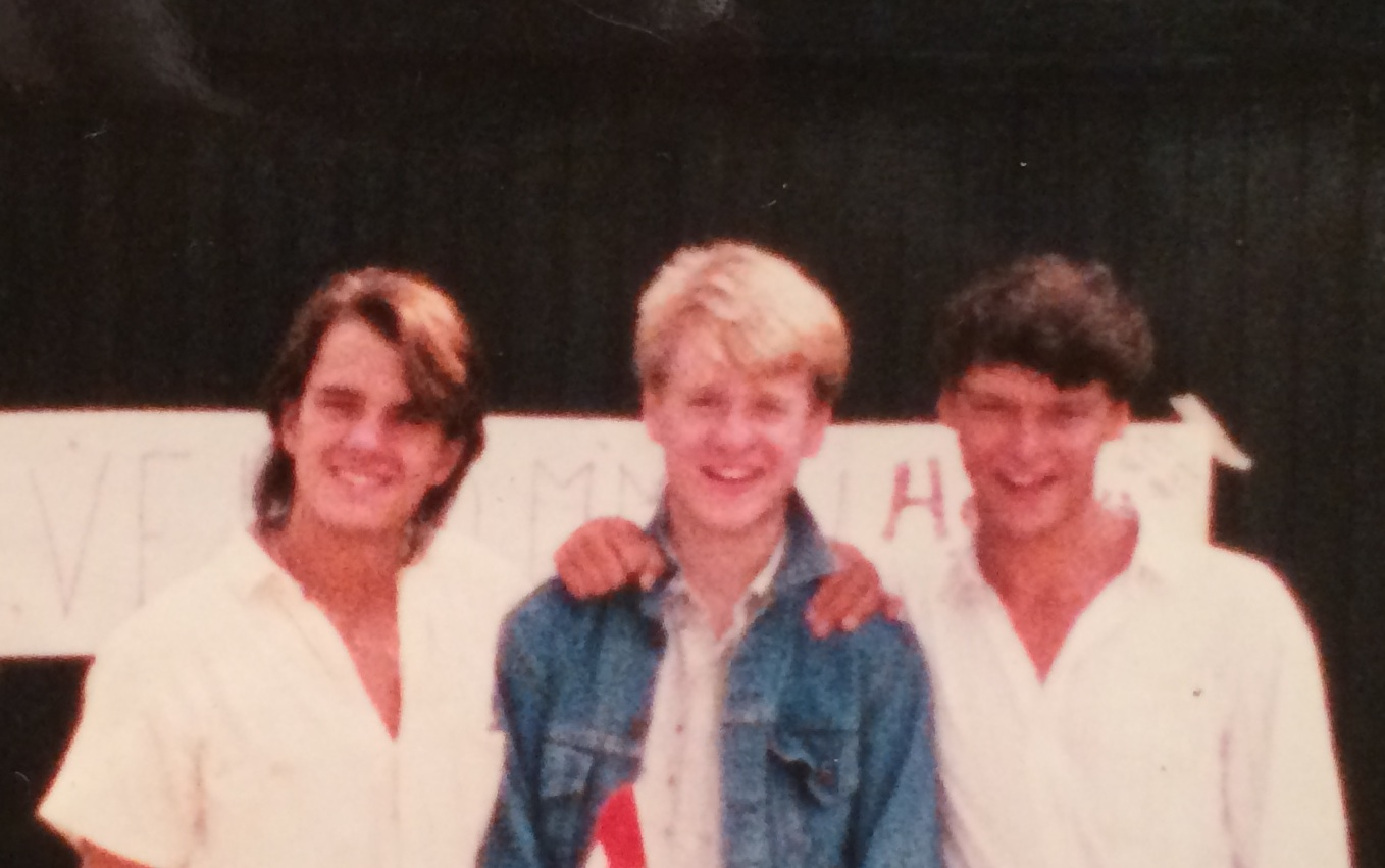 Jens, far left, and me, far right, with our friend Chris, at our arrival in 1986