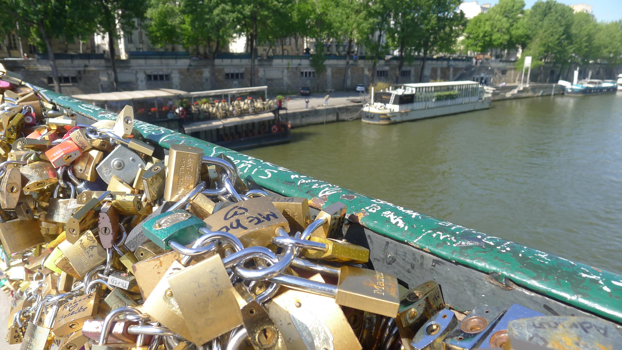 The locks along one of the bridges of Ile de la Cite