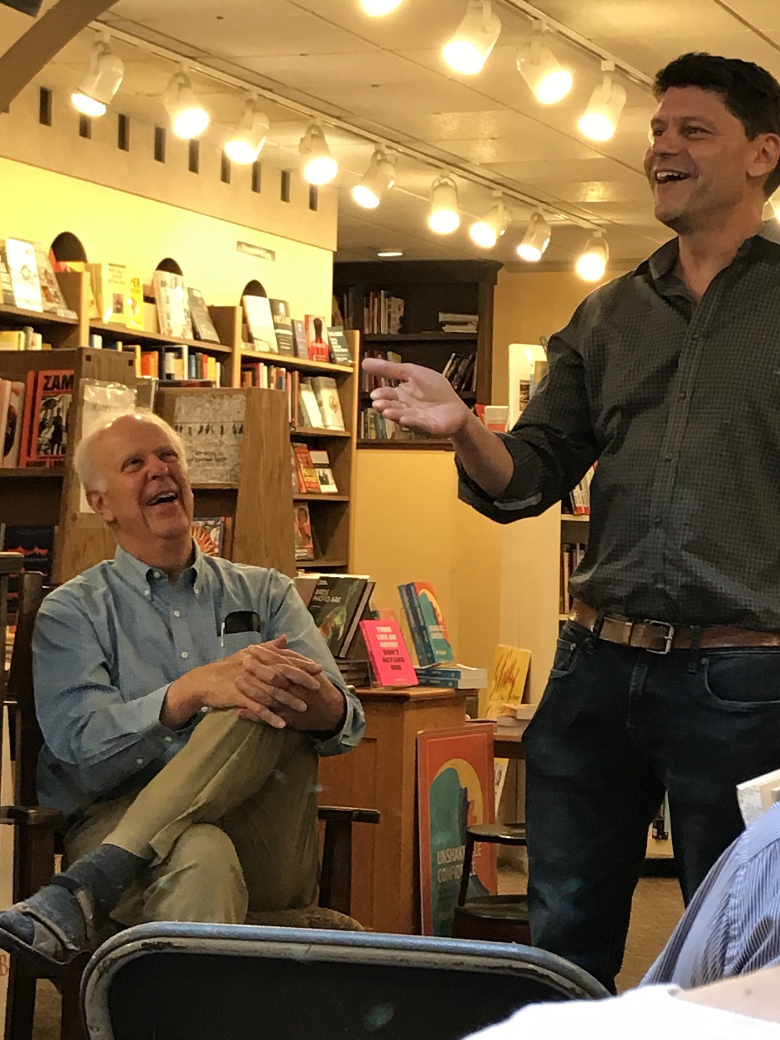 "With my soul friend and mentor, Parker Palmer, who read from his new collection of essays and poetry, ""On the Brink of Everything,"" Madison Wisconsin, July 11 2018"