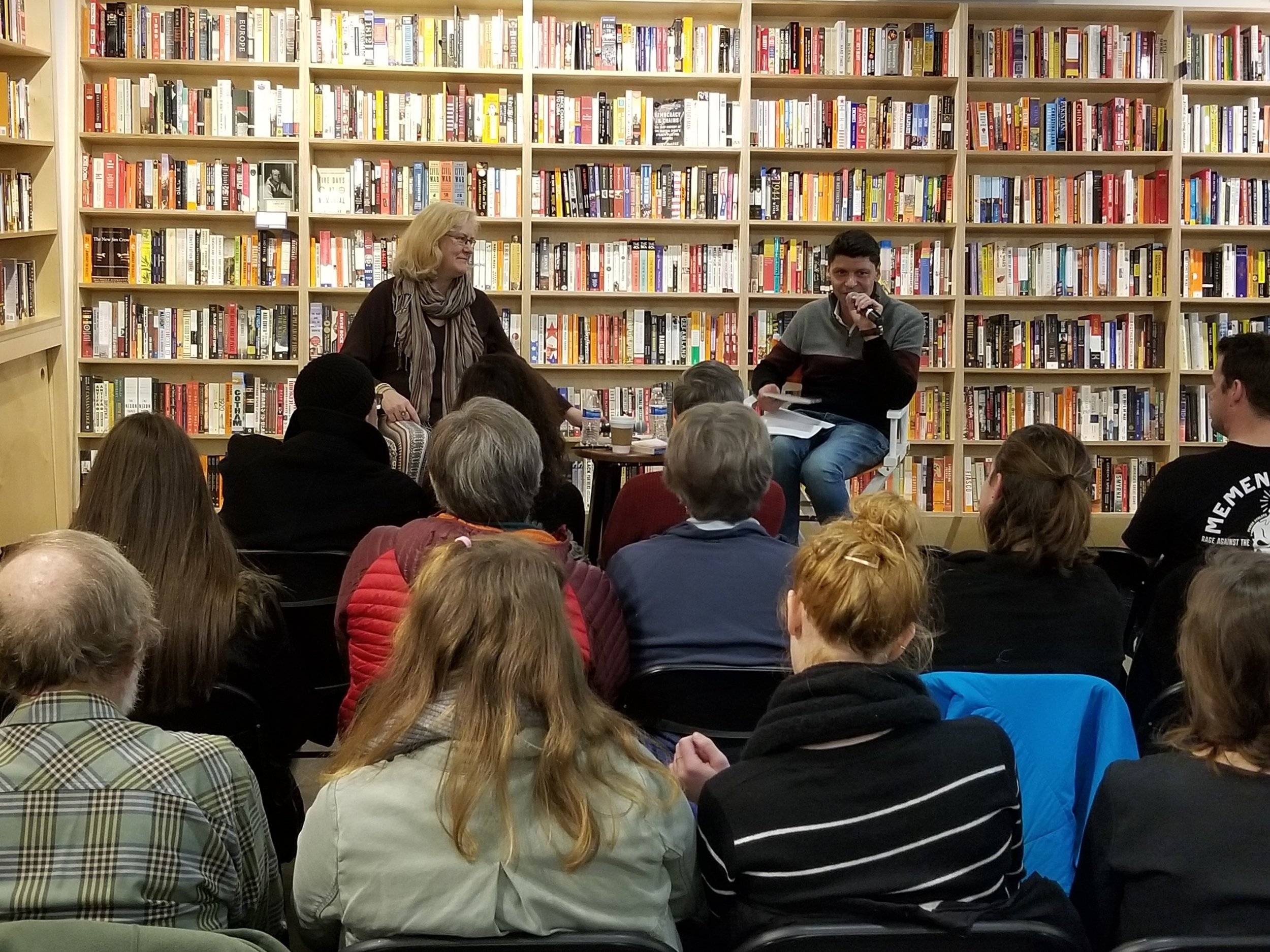 "At Solid State Books on H Street in DC, with the incomparable Sarah Browning, who read from her new book ""Killing Summer,"" Dec 5 2018"