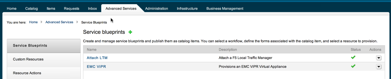 The sometimes-elusive Advanced Services tab...